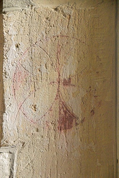 This faded rededication cross cross tells a deadly tale; soldiers fleeing the field after the Battle of Tewkesbury in 1471 were killed in the church. According to custom the church could not be used for worship until it had been reconsecrated.