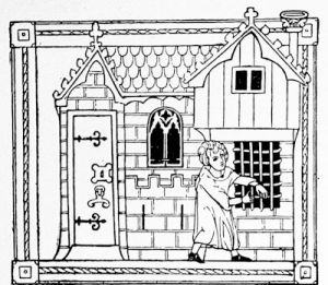 A MS. representation of a house, from a 14th century romance