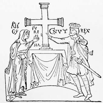 Knut (Canute) and Emma, his queen, from Canute\'s Book of Grants