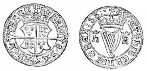 An Irish groat of Henry VIII, the first Irish coin on which the harp appears