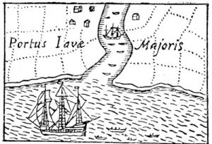 Drake\'s ship, the Golden Hind, at Java, from the Chart of Drake\'s voyages