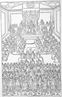 Queen Elizabeth in Parliament, 1586, from a contemporary print