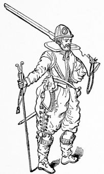 A musketeer of 1603, from Skelton\'s \'Armour\'