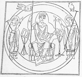 The king upon his throne, from an 11th century book of prayers