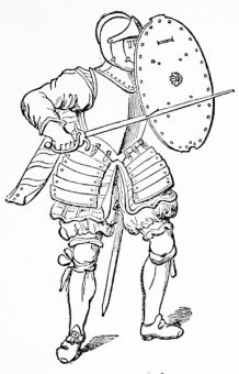 An infantryman of 1625, from Skelton\'s \'Armour\'