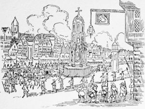 Cheapside and the Cross in 1638 from a contemporary account of the entry of Marie of Medici, mother of Henrietta Maria, Queen of Charles I into London