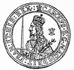 Coin portrait of Charles I, on three-pound piece of 1643