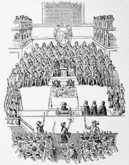 The Trial of Charles I, from a print in Nelson\'s report of the trial published in 1684