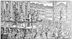 The execution of Charles I in Whitehall, January 30, 1649 from a print of the year