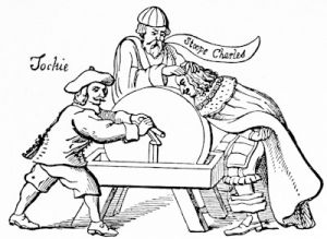 The Scots keeping the young king\'s nose to the grindstone, from a broadside of 1651 satirising the acceptance of the Covenant by Charles II