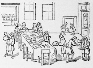 A dinner party under the Protectorate, from the English edition of the Janus Linguarum of Comenius