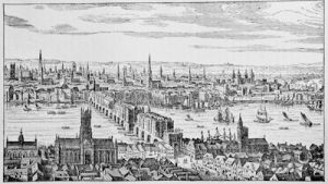 Southwark, London Bridge, the City, and the Tower, in 1666, from Visscher\'s \'General View of London\'