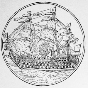 An English ship of war, in the time of Charles II, from a medal
