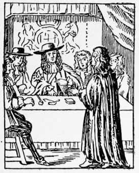 \'Dr Oates discovereth the plot to ye King and Council\', from a 17th century playing card