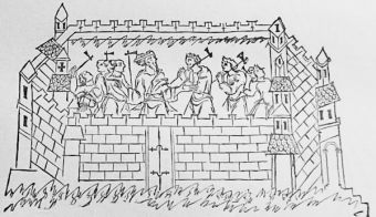 The old English burh, or fortified place, from a MS in the Bodleian Library