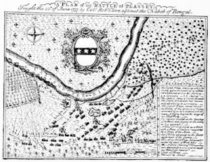 Clive\'s victory at Plassey, from a plan published in 1760