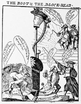 A satire of 1762 on Bute and his administration, from an etching by the Marquis Townshend, who, in 1767, became Lord-Lieutenant of Ireland
