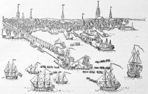 \'A View of the Town of Boston in New England, and British Ships of War landing their troops\', from a print engraved and published by Paul Revere at Boston in 1768