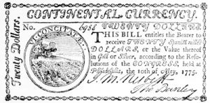 An American 20 dollar bill dated prior to the Declaration of Independence