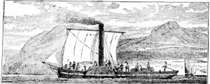 The first steamboat, the Comet, on the Clyde, from a print of 1812