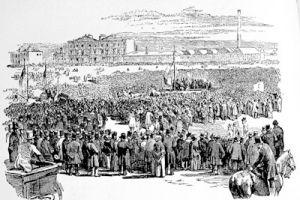 The Monster Chartist Meeting on Kennington Common, April 10, 1848, from a print in the Illustrated London News of 1848 made after a daguerrotype