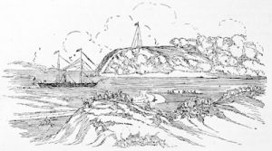 Port Natal in 1852, and the arrival of the first mail steamer, from a drawing made in 1852