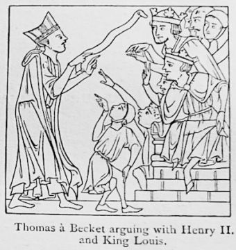 Thomas Becket arguing with Henry II and King Louis