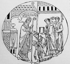 Ordination of a priest, 12th century, from the Roll of Guthlac in the British Museum
