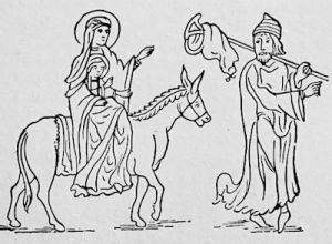 Travellers in Anglo-Norman dress, from a 12th century MS.