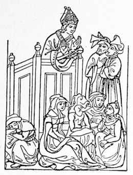 A 14th century abbot preaching