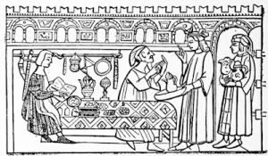 A goldsmith\'s shop in the 14th century