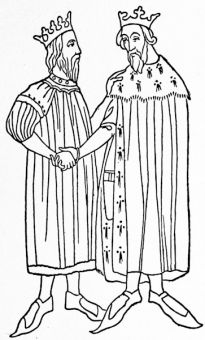 Edward III and David of Scotland, from, the Articles of the Peace of 1357