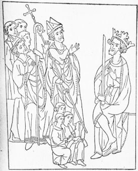 Edward I receiving the Bull of Pope Boniface VIII, from a MS. written and illustrated in Edward\'s reign