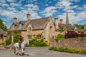 A horse and rider in Stanton, Gloucestershire