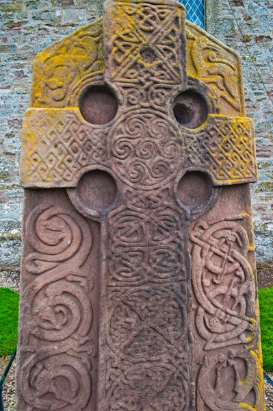 Aberlemno Sculptured Stones photo, Churchyard cross-slab, cross face with interlace designs