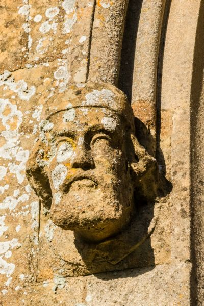 Adlestrop, St Mary Magdalene photo, Carved head drip-stop on the south wall