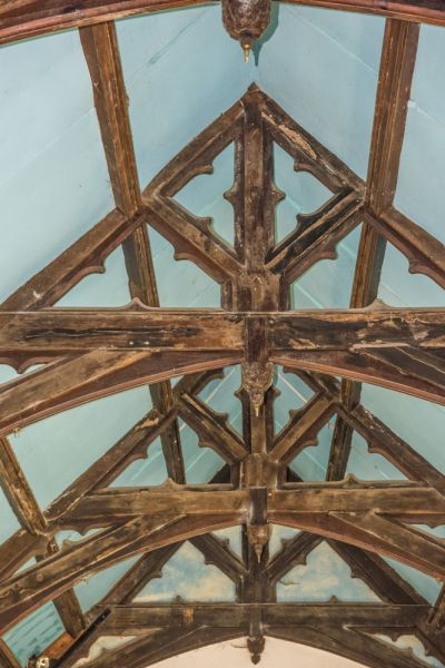 Adlestrop, St Mary Magdalene photo, The ornate roof beams