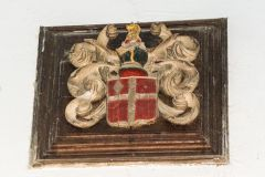 Leigh family crest, south transept