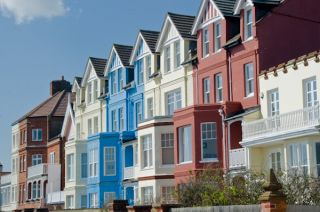 A colourful terrace of seafront houses
