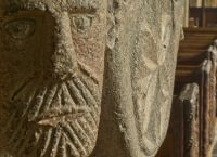 Altarnun, St Nonna's Church, Carved face on font