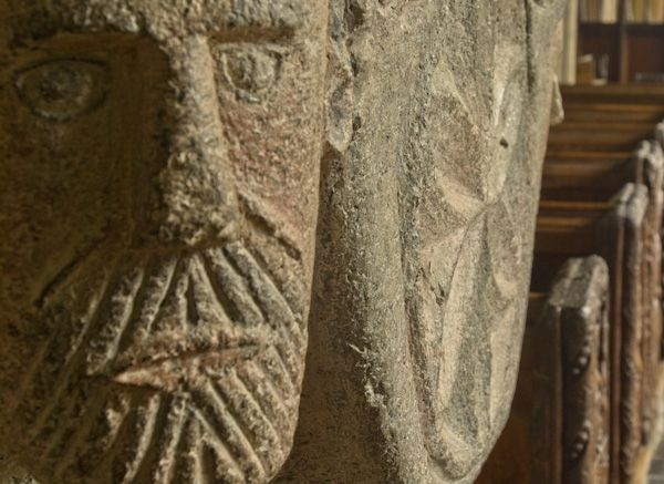 Altarnun, St Nonna's Church photo, Carved face on font