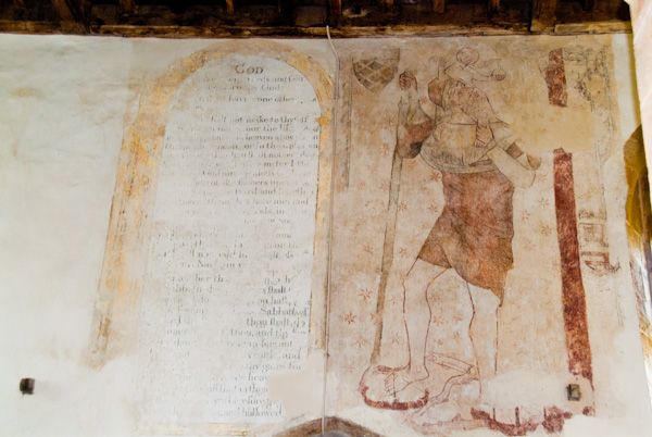 Ashby St Ledgers Church photo, St Christopher wall painting