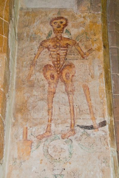 Ashby St Ledgers Church photo, Skeleton wall painting