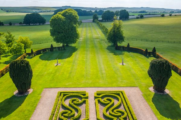Ashdown House photo, The formal gardens from the roof