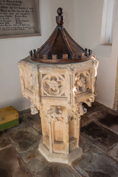 Ashton-under-Hill, St Barbara's Church photo, The 15th century font