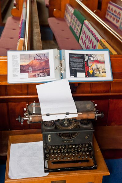 National Flag Heritage Centre photo, Nigel Tranter's typewriter inside the church