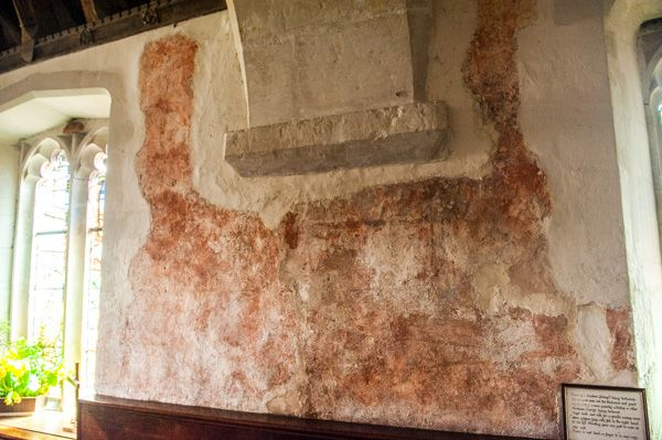 Axmouth, St Michael's Church photo, South aisle wall painting of St Erasmus, 1480