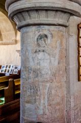 Axmouth, St Michael's Church, 1480 wall painting of 'Christ of Pity'