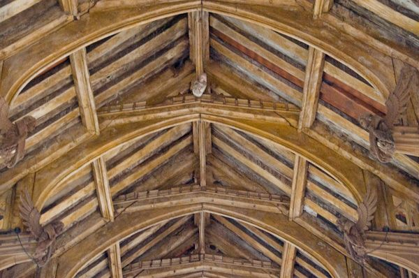 Badingham, St John the Baptist Church photo, Hammerbeam roof detail