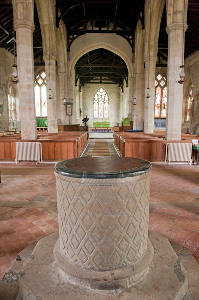 Bainton, St Andrew's Church photo, Norman font